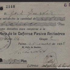 Sellos: PALMA, -DONATIVO- COOPERAR OBRA DEFENSA PASIVA ANTIAEREA, AÑO 1938, VER FOTO. Lote 129689923