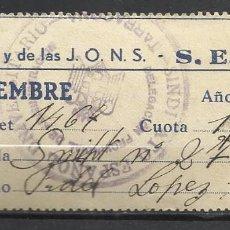 Sellos: 9049-SELLO CUOTA FALANGE TARRAGONA 1 PESETA 1940 S.E.U, SINDICATO ESPAÑOL UNIVERSITARIO F.E.T Y DE L. Lote 129691051