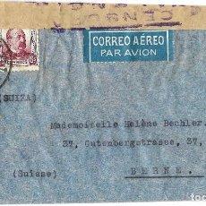 Sellos: 1938 (29 ENE) CARTA REPÚBLICA. MADRID A SUIZA CORREO AÉREO. GUERRA CIVIL. CENSURA. Lote 130025223