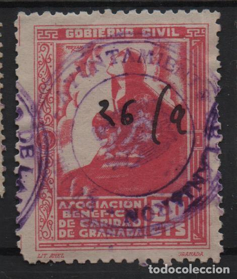 GRANADA, 50 CTS, -ASOCIACION BENEFICA DE CARIDAD-- ALLEPUZ Nº 129, VER FOTO (Sellos - España - Guerra Civil - De 1.936 a 1.939 - Usados)