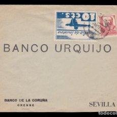 Sellos: *** CARTA 1937 ORENSE (CORUÑA)-SEVILLA. BANCO URQUIJO. AUXILIO DE INVIERNO 10 CTS ALLEPUZ 7 ***. Lote 130221875