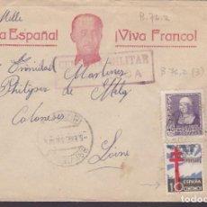 Francobolli: HP9-9-GUERRA CIVIL. CARTA ILUSTRADA FRANCO. BRIVIESCA (BURGOS) 1939. CENSURA Y VARIEDAD TUBERCULOSOS. Lote 130270782