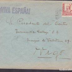 Sellos: CM1-36-GUERRA CIVIL. CARTA PUENTEAREAS (PONTEVEDRA) 1937. . FAJA CIERRE CENSURA PUENTEAREAS. Lote 130276878