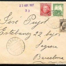 Sellos: GUERRA CIVIL, CARTA, PRIMER BATALLÓN DE COSTA, GERONA, 1937. Lote 130456446