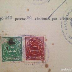 Sellos: BURRIANA 5 PESETAS Y 10 PESETAS EN UN DOCUMENTO. Lote 130472798