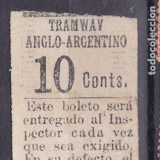 Sellos: VV3-BILLETE TRANWAY ANGLO-ARGENTINO CON PUBLICIDAD CIGARRILLOS IDEALES. DORSO. Lote 156783512