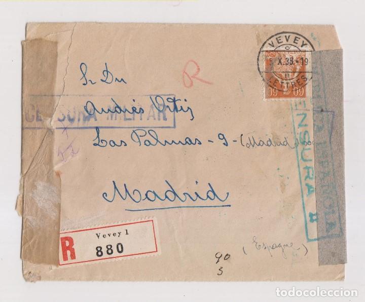 RARÍSIMO SOBRE DE SUIZA A MADRID. CENSURA MILITAR Y MARCA ESTABA DETENIDO POR LA CENSURA ROJA. 1938 (Sellos - España - Guerra Civil - De 1.936 a 1.939 - Cartas)