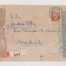 Sellos: RARÍSIMO SOBRE DE SUIZA A MADRID. CENSURA MILITAR Y MARCA ESTABA DETENIDO POR LA CENSURA ROJA. 1938. Lote 130556330