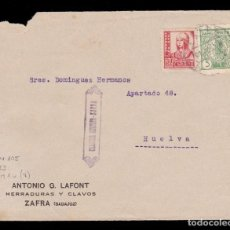 Sellos: *** FRONTAL 1937 ZAFRA-HUELVA. CENSURA ZAFRA 2.1 Y LOCAL BADAJOZ 5 CTS. ANTONIO G. LAFONT **. Lote 130620854