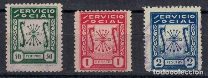 ALLEPUZ /FALANGE 301, 302, 303 SERVICIO SOCIAL. 50 CTS, 1 PTA Y 2 PTA (Sellos - España - Guerra Civil - De 1.936 a 1.939 - Usados)
