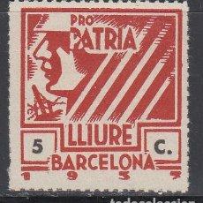Sellos: PRO PATRIA LLIURE I CULTURA, BARCELONA 1397, 5 CTS . Lote 130856720