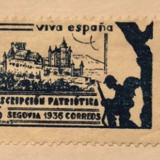 Sellos: SELLO LOCAL GUERRA CIVIL SEGOVIA 1936 SUSCRIPCIÓN PATRIÓTICA 5 CTS. Lote 130879864