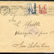 Sellos: GUERRA CIVIL, SOBRE CON VIÑETA, CRUZADA CONTRA FRIO, BURGOS, 1937. Lote 131071560