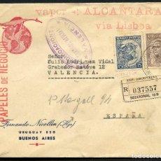 Sellos: GUERRA CIVIL, SOBRE, VAPOR ALCANTARA, VÍA LISBOA, VALENCIA, 1937. Lote 131071844
