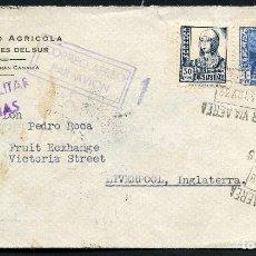 Sellos: GUERRA CIVIL, SOBRE, CORREO AÉREO, LAS PALMAS A REINO UNIDO, VIA SEVILLA, 1938. Lote 131072916