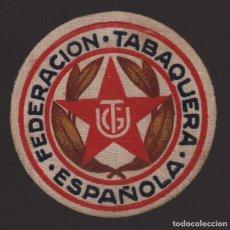 Sellos: U.G.T. FEDERACION TABAQUERA ESPAÑOLA, DE CARTON. MIDE: 5 C.M. DIAMETRO, VER FOTO. Lote 131094004