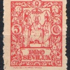 Sellos: [CF4095] PRO SEVILLA 1938, AUXILIO A NECESITADOS, 5 C. ROJO (U). Lote 70178313