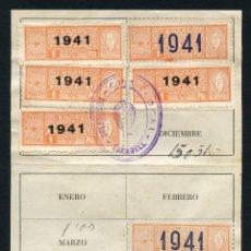 Sellos: GUERRA CIVIL POST, HOJA DE COTIZACIÓN, C.N.S., 8 VIÑETAS, 1941. Lote 131129664