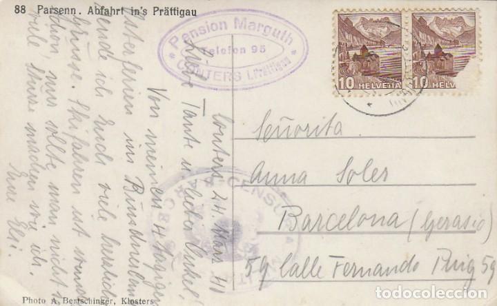 CENSURA MILITAR DE BARCELONA, TARJETA POSTAL CIRCULADA DESDE SUIZA A BARCELONA EL AÑO 1941 (Sellos - España - Guerra Civil - De 1.936 a 1.939 - Cartas)