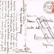 Sellos: POSTAL ENVIADA DESDE SUIZA A BARCELONA CON CENSURA GUBERNATIVA DE BARCELONA EN NEGRO DEL AÑO 1941. Lote 131719062