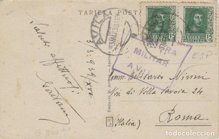 POSTAL ENVIADA DESDE AVILA A ITALIA CON CENSURA MILITAR DE AVILA EL 3-3-1939 (Sellos - España - Guerra Civil - De 1.936 a 1.939 - Cartas)