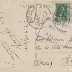 Sellos: POSTAL ENVIADA DESDE AVILA A ITALIA CON CENSURA MILITAR DE AVILA EL 3-3-1939. Lote 131719806