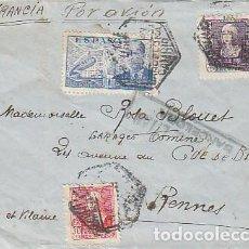 Sellos: CARTA DIRIGIDA A RENNES (FRANCIA) CON CENSURA MILITAR DE BARCELONA. Lote 131721486