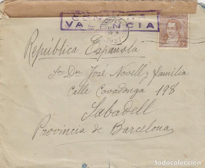 CENSURA REPUBLICANA DE VALENCIA, SOBRE CIRCULADO DE VINOS (ARGENTINA) A SABADELL EL 14-4-1937 (Sellos - España - Guerra Civil - De 1.936 a 1.939 - Cartas)