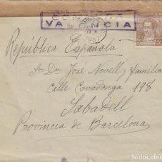 Sellos: CENSURA REPUBLICANA DE VALENCIA, SOBRE CIRCULADO DE VINOS (ARGENTINA) A SABADELL EL 14-4-1937. Lote 131723030