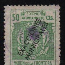 Sellos: MORON DE LA FRONTERA,-SEVILLA- 50 CTS, -EXACCIONES MUNICIPALES- VER FOTO. Lote 131779418