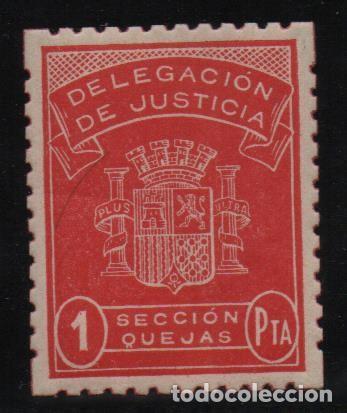 DELEGACION DE JUSTICIA, 1 PTA, -SECCION QUEJAS- REPUBLICA- NUEVO-VER FOTO (Sellos - España - Guerra Civil - De 1.936 a 1.939 - Usados)