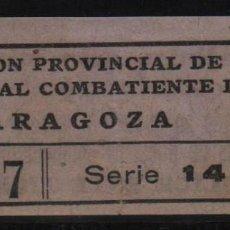 Sellos: ZARAGOZA, 1 PTA, -SUBSIDIO AL COMBATIENTE- LEER REVERSO. SOFIMA Nº 41, VER FOTOS. Lote 131779846