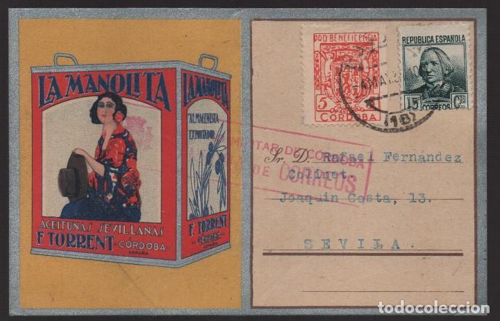 POSTAL, CIRCULADA DE CORDABA A SEVILLA, PUBLICITARIA. C.M. AÑO 1937, VER FOTOS (Sellos - España - Guerra Civil - De 1.936 a 1.939 - Usados)