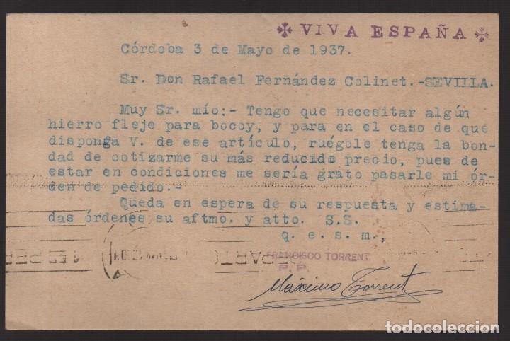 Sellos: POSTAL, CIRCULADA DE CORDABA A SEVILLA, PUBLICITARIA. C.M. AÑO 1937, VER FOTOS - Foto 2 - 131941514