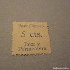Timbres: PRO PARO OBRERO 5 CTS IBIZA Y FORMENTERA BALEARES, CON Nº DE CONTROL REVERSO. Lote 131954906