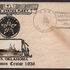 Sellos: SANTANDER-SPAIN-CARTA, BARCO U.S.S. OKLAHOMA, 25 JULIO 1936. RECOGIA NORTEAMERICANOS Y REFUGIADOS, . Lote 131979626
