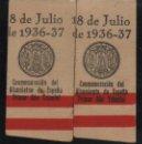 Sellos: SEVILLA, PRIMER AÑO TRIUNFAL, PAREJA CON VARIEDAD DE FECHA DESPLAZADA, ALLEPUZ Nº 124, VER FOTO. Lote 131981274