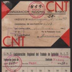 Sellos: BARCELONA, C.N.T. A.I.T. CARNET Y HOJA DE CUOTAS, VER FOTOS. Lote 131981454