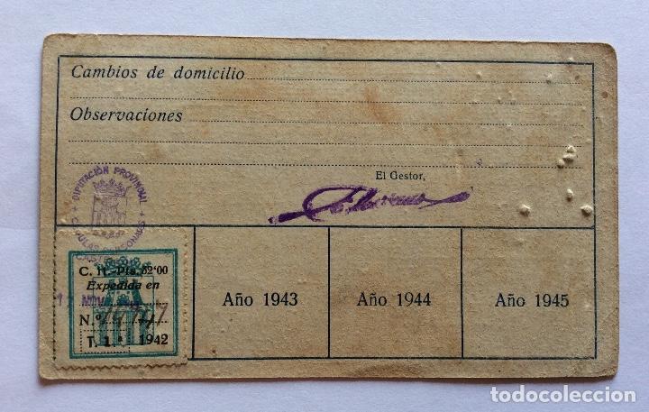 CÉDULA PERSONAL. BURRIANA, CASTELLÓN, CON VIÑETA 1942. (Sellos - España - Guerra Civil - Viñetas - Usados)