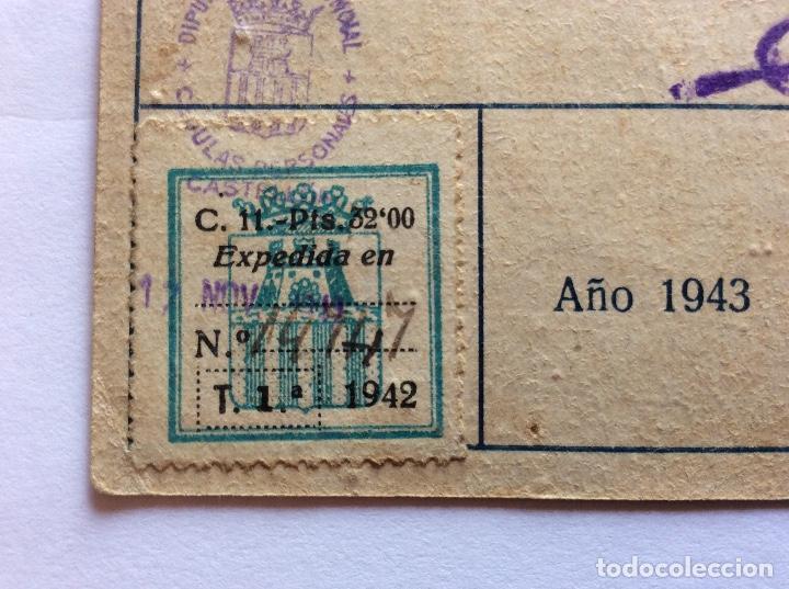 Sellos: CÉDULA PERSONAL. BURRIANA, CASTELLÓN, CON VIÑETA 1942. - Foto 2 - 132020094
