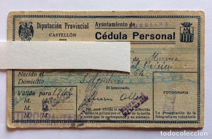 Sellos: CÉDULA PERSONAL. BURRIANA, CASTELLÓN, CON VIÑETA 1942. - Foto 3 - 132020094