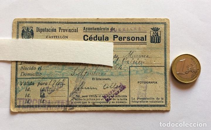 Sellos: CÉDULA PERSONAL. BURRIANA, CASTELLÓN, CON VIÑETA 1942. - Foto 4 - 132020094