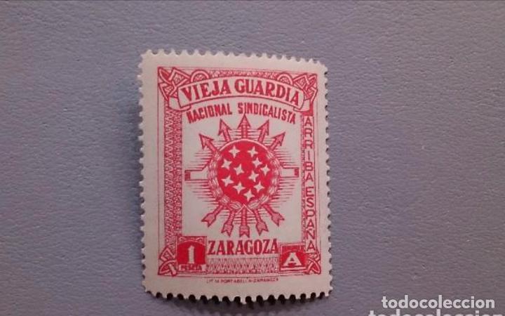 ESPAÑA - GUERRA CIVIL - VIEJA GUARDIA - NACIONAL SINDICALISTA - ZARAGOZA - RARO Y ESCASO - NUEVO (Sellos - España - Guerra Civil - De 1.936 a 1.939 - Nuevos)