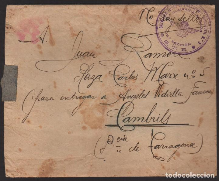 CARTA, A CAMBRILS--TARRAGONA-- 134 BRIGADA MIXTA- BON. HIPOMOVIL 3ª CIA. RODADA, BASE 8 -NO HAY SELL (Sellos - España - Guerra Civil - De 1.936 a 1.939 - Cartas)
