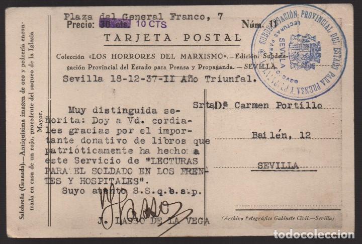 POSTAL, FIRMA: JAVER LASSO DE LA VEGA, -DONATIVO LIBRO LECTURA PARA SOLDADO EN FRENTES Y HOSPITALES- (Sellos - España - Guerra Civil - De 1.936 a 1.939 - Cartas)