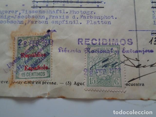 BARCELONA. LIBRERIA NACIONAL Y EXTRANJERA. 1933. 2 TIMBRES/VIÑETAS 15 CÉNTIMOS. SOBRE FACTURA (Sellos - España - Guerra Civil - De 1.936 a 1.939 - Usados)