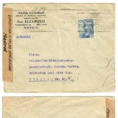 Sellos: CARTA CIRCULADA DE MADRID A ALEMANIA. CENSURA MILITAR ESPAÑOLA Y ALEMANA. Lote 132350818