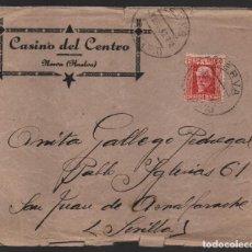 Sellos: NERVA-HUELVA- CARTA, -CASINO DEL CENTRO- A S.JUAN AZNAFARACHE- SEVILLA- VER FOTOS. Lote 132605894