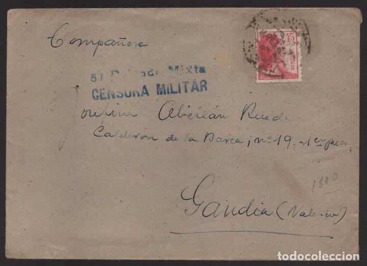 CARTA, 81 BRIGADA MIXTA 323 BON.BASE 3 C.C. Nº 7, A GANDIA- VALENCIA- C.M. VER FOTOS (Sellos - España - Guerra Civil - De 1.936 a 1.939 - Cartas)