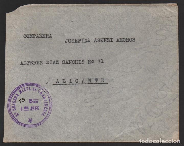 CARTA DE MADRID A ALICANTE- 6ª BRIGADA MIXTA DE CARABINEROS- 1ER. BON. 1 ER. JEFE, VER FOTOS (Sellos - España - Guerra Civil - De 1.936 a 1.939 - Cartas)